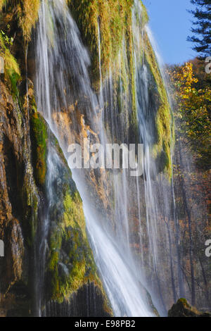 Waterfall in Plitvice lakes national park, Croatia - Stock Photo