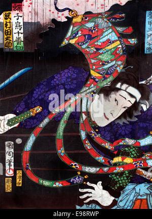 Portrait of Kabuki actors 1847-1868 Traditional Japanese theatre - Stock Photo