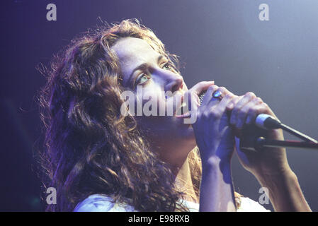 American singer Sheryl Crow in concert in Glasgow, Scotland, on 10th December 1997. - Stock Photo