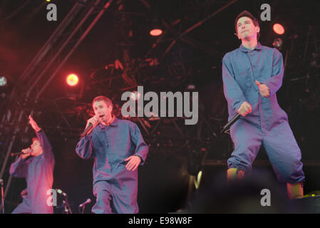 The Beastie Boys on stage in concert at T In The Park music festival, in Scotland, in 1998. - Stock Photo