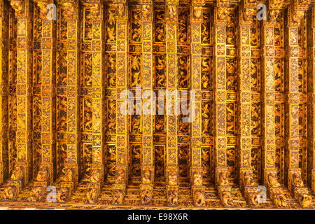Carved wooden cieling in the Silk Exchange building in Valencia, Spain. - Stock Photo