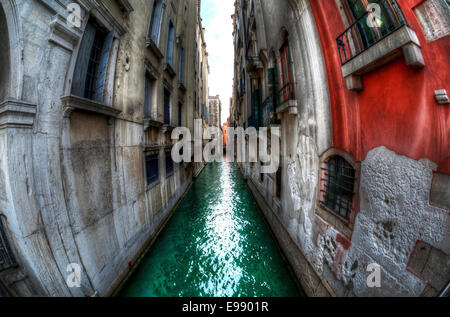Side canal off the Grand Canal, Venice, Italy. - Stock Photo