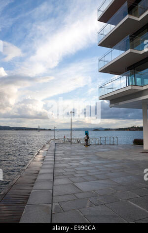 Modern apartments of harbour in a summer dusk. Oslo, Ostlandet. Norway - Stock Photo