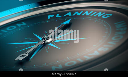 Compass with needle pointing the word planning, concept image to illustrate business plan and strategy. - Stock Photo