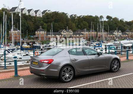 A Maserati Ghibli sports saloon car photographed at Penarth Marina, South Wales. - Stock Photo