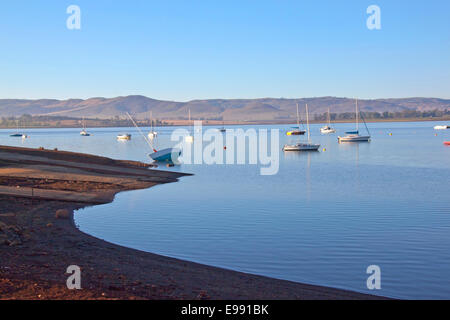 Early morning view of boat slipway on Midmar dam against Yachts anchored in water at Howick, Kwa-Zulu Natal, South - Stock Photo