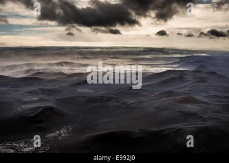 Dust storm in the highlands close to the Holuhraun Fissure Eruption, Bardarbunga Volcano, Iceland - Stock Photo