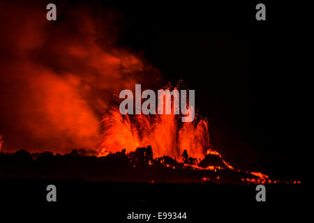 Lava fountains at night, eruption at the Holuhraun Fissure, near the Bardarbunga Volcano, Iceland.  August 29, 2014 - Stock Photo