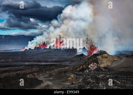 Volcano Eruption at the Holuhraun Fissure near the Bardarbunga Volcano, Iceland. - Stock Photo