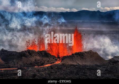 Volcano Eruption at the Holuhraun Fissure,  Bardarbunga Volcano, Iceland. - Stock Photo