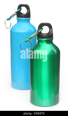 Two water bottle over white background - Stock Photo