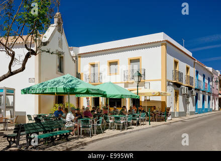 Portugal, the Algarve, Alvor, a café in the central square - Stock Photo