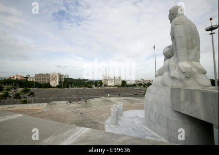 View of Plaza de la Revolution seen from the Jose Marti Monument, Havana Cuba - Stock Photo