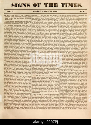 First edition of 'Signs of the Times' monthly magazine 1840 published by the  Millerites. See description for more - Stock Photo