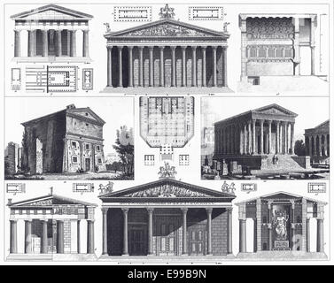 Engraved illustrations of Greek and Roman Temples from Iconographic Encyclopedia of Science, Literature and Art, - Stock Photo