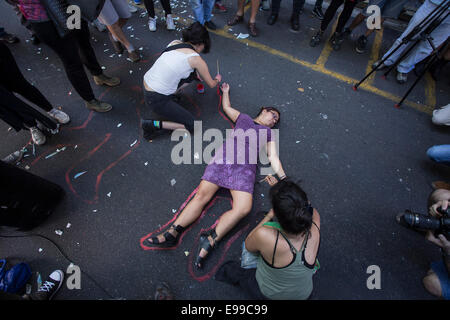 Buenos Aires, Argentina. 22nd Oct, 2014. Demonstrators take part in a protest for the 43 missing students of the - Stock Photo