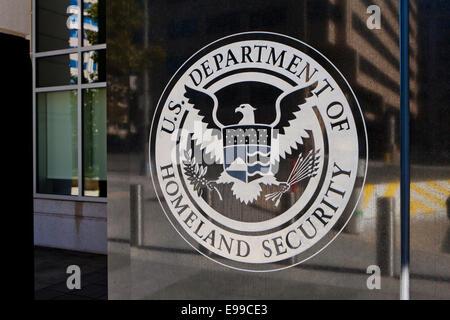 US Department of Homeland Security headquarters seal - Washington, DC USA - Stock Photo