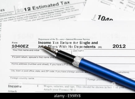 Tax form 1040ez for tax year 2012 for US individual tax return ...