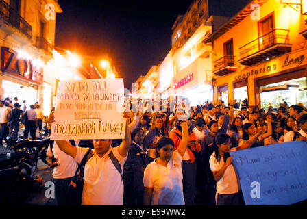 Guerrero, Mexico. 22nd Oct, 2014. Veracruz students took to the streets to demand the return of the 43 missing students - Stock Photo