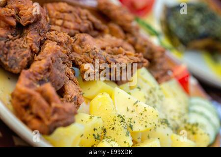Fish fries with potatoes and salad - Stock Photo