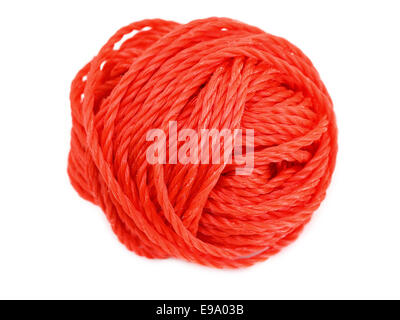 Red ball of yarn isolated on a white - Stock Photo