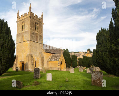 Stanway House and St Peters Church Stanton - Stock Photo