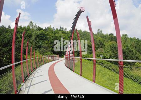 bridge, Hoheward mine heap, Herten, Germany - Stock Photo