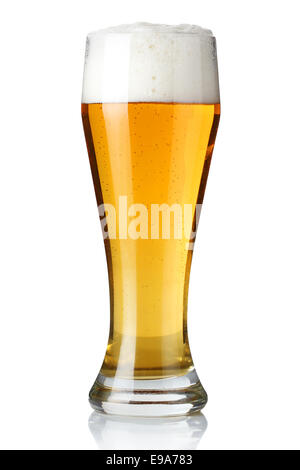 Glass of light beer isolated on a white - Stock Photo