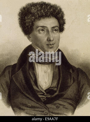 Alexandre Dumas (1802-1870). French writer. Romanticism and Historical fiction literary movement. Engraving. 19th - Stock Photo