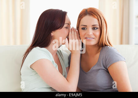Young woman being told a secret - Stock Photo