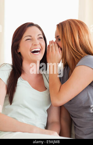 Laughing woman being told something - Stock Photo