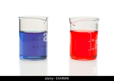 Red and blue liquid in beakers - Stock Photo