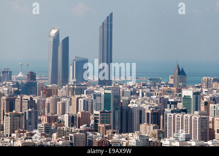View to modern city of Abu Dhabi (UAE), with Central Market Towers and Landmark Tower (highest in Abu Dhabi as of - Stock Photo