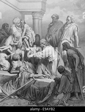 Illustrated Bible. New Testament. Jesus healing the sick. Drawing by Gustave Dore (1832-1883). 19th century. - Stock Photo