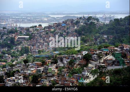 Slums, favelas, on mountain slopes, Rio de Janeiro, Brazil - Stock Photo