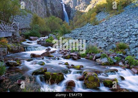Njupeskär, the highest waterfall in Sweden, Fulufjället National Park, Dalarnas län, Dalarna County, Sweden - Stock Photo