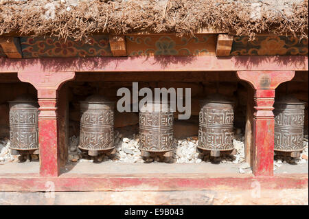 Buddhist prayer wheels, Kagbeni Gompa monastery, Lower Mustang, Nepal, Asia - Stock Photo