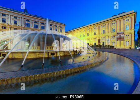 Night scene, Palazzo della Regione Liguria headquarters of the Ligurian Region, Piazza de Ferrari with fountain, - Stock Photo
