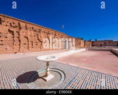 Historic ruins of Palais el-Badi, Marrakech, Marrakech-Tensift-Al Haouz, Morocco - Stock Photo