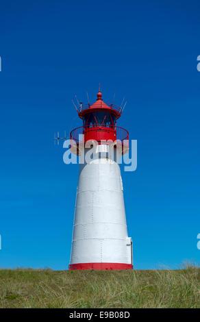 List West Lighthouse, Ellenbogen, near List, Sylt, Schleswig-Holstein, Germany - Stock Photo