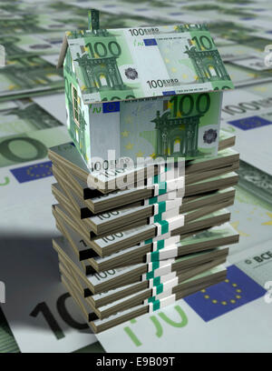 House made of euro banknotes on bundles of money. - Stock Photo