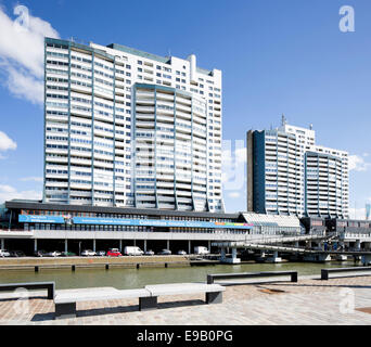 Columbus Center shopping center and residential building, Alten Hafen port, Bremerhaven, Bremen, Germany - Stock Photo