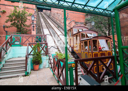 Funicular to Castle Hill, Budapest, Hungary - Stock Photo