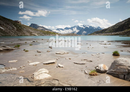 Friesenbergsee lake with views of the Zillertal Alps, Ginzling, Tyrol, Austria - Stock Photo