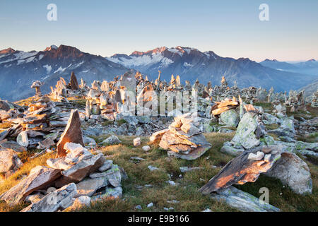 Cairns on the Petersköpfl, Ginzling, Tyrol, Austria - Stock Photo