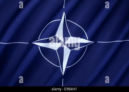 The flag of the North Atlantic Treaty Organization - NATO - Stock Photo