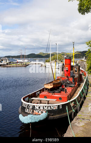The tug boat 'Duke of Normandy' in the canal basin on the Crinan Canal at Crinan, Knapdale, Argyll & Bute, Scotland - Stock Photo