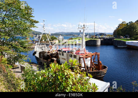 The canal basin on the Crinan Canal at Crinan, Knapdale, Argyll & Bute, Scotland UK - Stock Photo