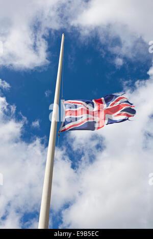 The Union Flag at half-mast - Stock Photo