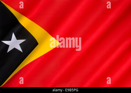 Flag of the Democratic Republic of Timor-Leste - East Timor - Stock Photo